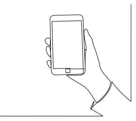 Continuous line drawing of hands that hold a modern mobile phone and receive messages that are isolated against a white background. Foto de archivo - 150340637