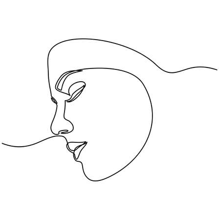 Continuous line drawing of Portrait of a Beautiful Womans set faces. The Concept of Skin Beauty Care for young female models. Fashion beauty model with a white background Vettoriali