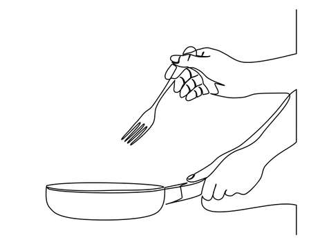 Continuous line drawing of hands holding a fork, spoon. side view of the hand holding a fork to prepare eat.