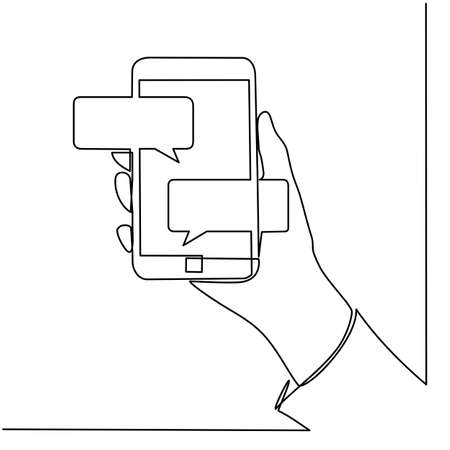 Continuous line drawing of hands that hold a modern mobile phone and receive messages that are isolated against a white background. Foto de archivo - 150345166