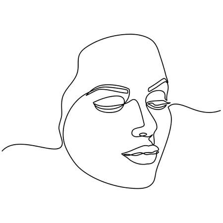 Continuous line drawing of Portrait of a Beautiful Woman's set faces. The Concept of Skin Beauty Care for young female models. Fashion beauty model with a white background. Vector illustration Vettoriali