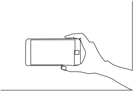 Continuous line drawing of hands that hold a modern mobile phone and receive messages that are isolated against a white background. . Vector illustration Foto de archivo - 150346943