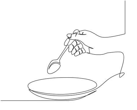Continuous line drawing of hands holding a fork, spoon. side view of the hand holding a fork to prepare eat. Vector illustration Banco de Imagens - 150344807