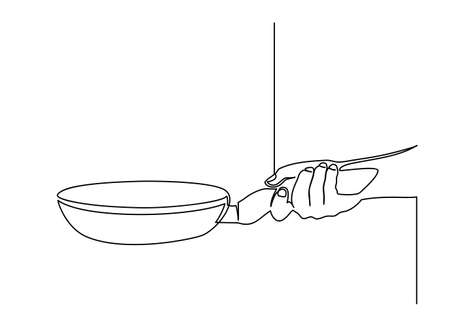 continuous line drawing of Side view of chef hand holding a frying pan preparing food. Cooking action concept. one line vector