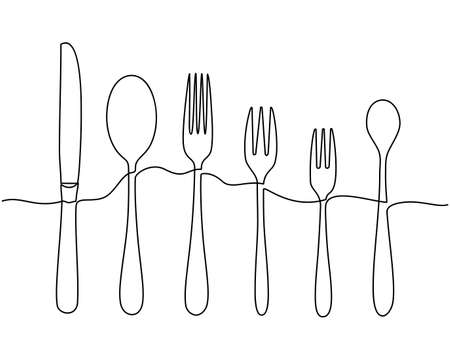 Continuous one line drawing. Fork, spoons, knife plates and all eating and cooking utensils, can be used for restaurant logos, cakes, business cards, banners and others. Vector illustration Banco de Imagens - 150347400