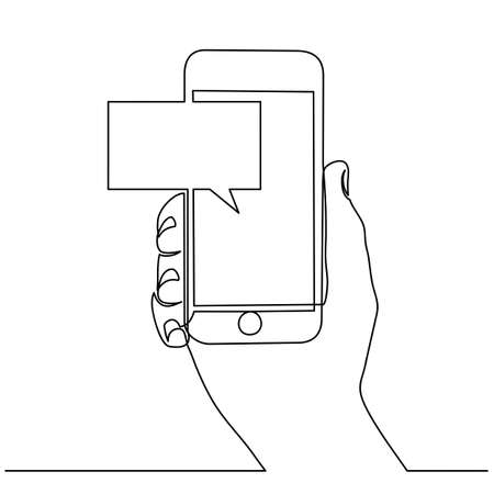 Continuous line drawing of hands that hold a modern mobile phone and receive messages that are isolated against a white background. . Vector illustration Foto de archivo - 150346892