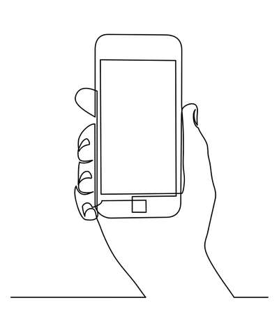 Continuous line drawing of hands that hold a modern mobile phone and receive messages that are isolated against a white background. . Vector illustration Foto de archivo - 150346677