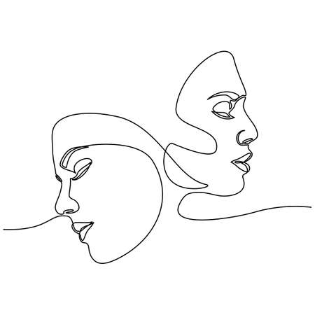 Continuous line drawing of Portrait of a Beautiful Womans set faces. The Concept of Skin Beauty Care for young female models. Fashion beauty model with a white background