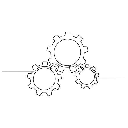 Continuous line drawing of gears wheel. Gears are drawn by a single line on a white background. Illusztráció