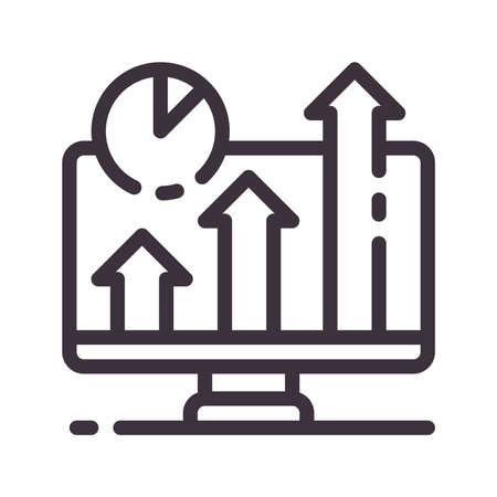 Sales growth vector line icon. Seo strategy. Digital marketing. Button for web or mobile app. UI  UX user interface. Editable stroke. Illustration