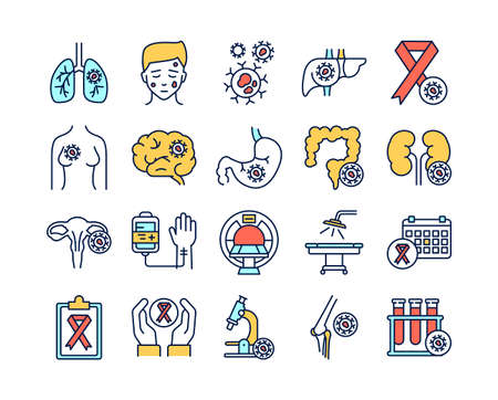 Cancer different organs line color icons set. Oncology. Medical diagnostic. Isolated vector elements. Outline pictograms for web page, mobile app, promo.
