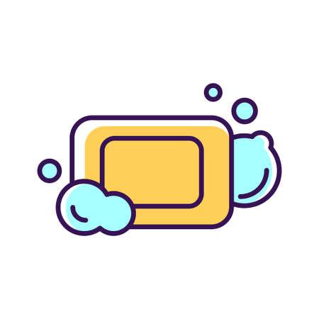 Antibacterial soap bar with bubbles color line icon. Hygiene product. Pictogram for web page, mobile app, promo. UI UX GUI design element.