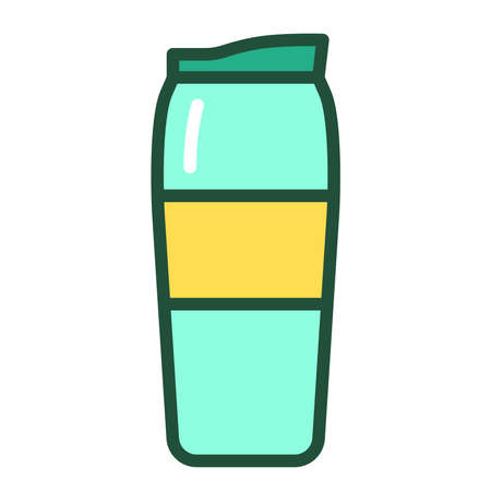 Reusable glass coffee or tea cup line color icon. Tumbler for take away. Zero waste lifestyle. Outline pictogram for web page, mobile app, promo. Ilustrace