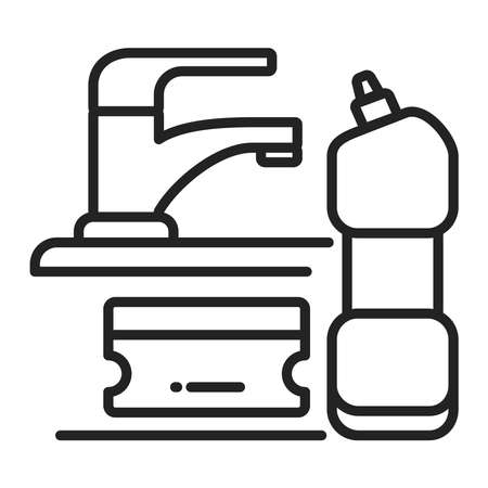 Sponge and detergent line black icon. Kitchen and bathroom cleaning. Outline pictogram for web page, mobile app, promo