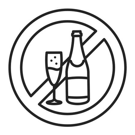 Alcohol allergy line black icon. Healthy lifestyle. Alcohol intolerance. Pictogram for web page, mobile app, promo.Editable stroke.