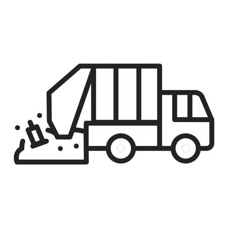 Urban green garbage truck line black icon. Residential and commercial waste. Outline pictogram for web page, mobile app, promo.