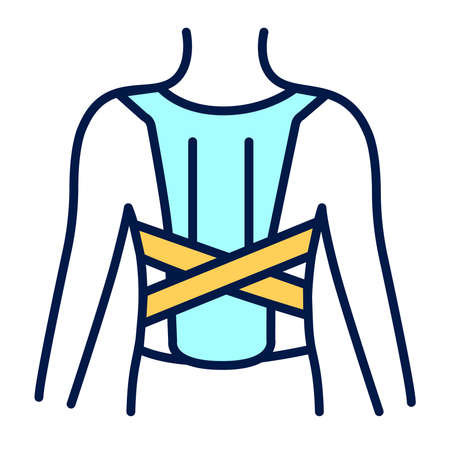 Orthopedic corset line color icon. Posture corrector. Isolated vector element.