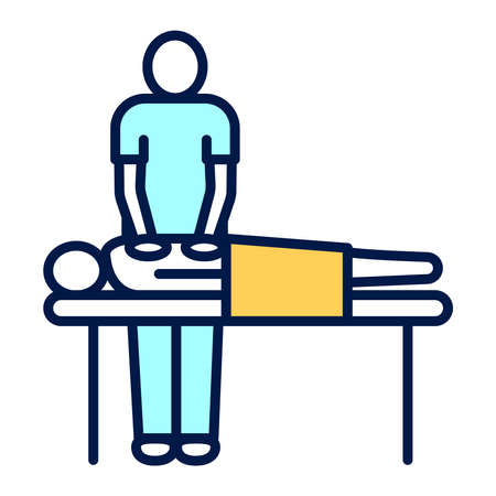 Massage procedure line color icon. Physiotherapy. Isolated vector element.