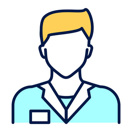 Doctor in uniform line color icon. Medical service. Subject matter expert. Isolated vector element.
