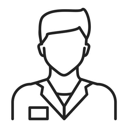 Doctor in uniform line black icon. Medical service. Subject matter expert. Isolated vector element.