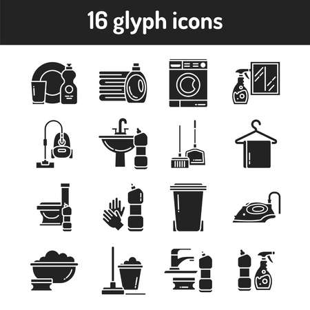 Cleaning services black glyph icons set. Housekeeping. Cleaner products. Signs for web page, mobile app, button, banner