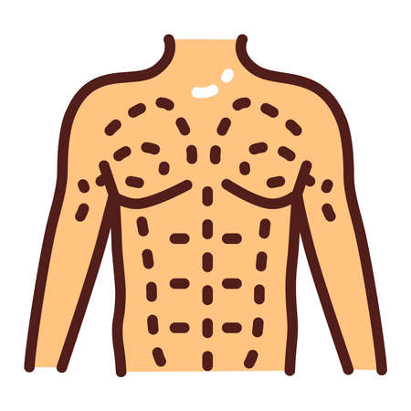 Male coolsculpting color line icon. Flanks correction. Plastic surgery. Isolated vector element. Outline pictogram for web page, mobile app, promo. Фото со стока