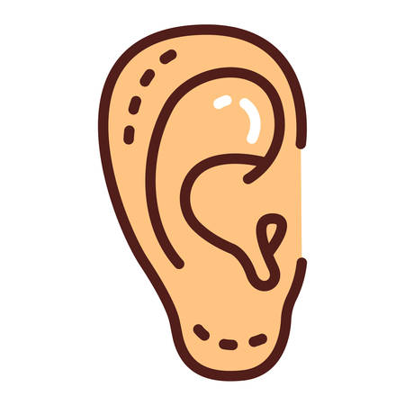 Otoplasty color line icon. Ear shape change plastic surgery. Isolated vector element. Outline pictogram for web page, mobile app, promo.
