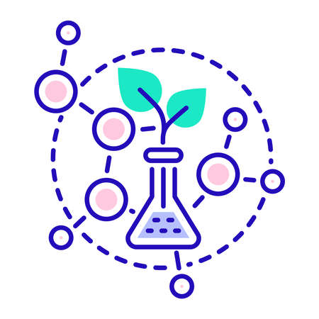 Genetically modified plant grown in test tube color line icon. Isolated vector element. Outline pictogram for web page, mobile app, promo.