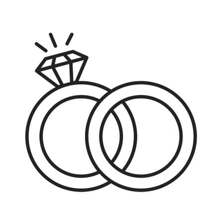 Wedding gold rings with diamonds line black icon. Marital status. Isolated vector element. Outline pictogram for web page, mobile app, promo. Illustration