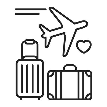 Honeymoon black line icon. Suitcases with airplane. Isolated vector element. Outline pictogram for web page, mobile app, promo.