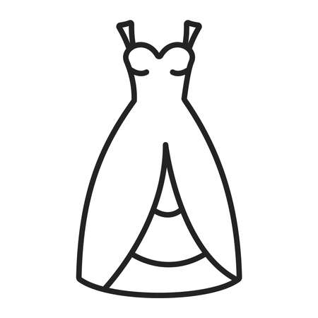 Bridal outfit black line icon. Wedding dress, Isolated vector element. Outline pictogram for web page, mobile app, promo. Çizim