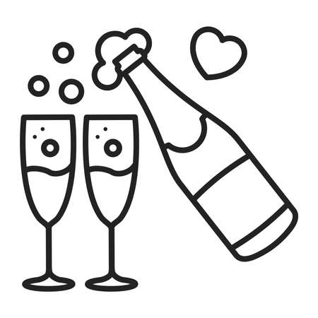 Champagne bottle and glasses line black icon. Christmas, New Year, Birthday celebration. Isolated vector element. Outline pictogram for web page, mobile app, promo.