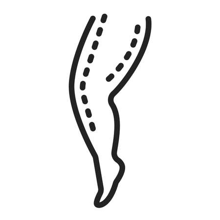 Thigh lift black line icon. Plastic body surgery. Isolated vector element. Outline pictogram for web page, mobile app, promo.  イラスト・ベクター素材
