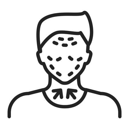 Lifting male face black line icon. Cosmetic surgery. Facial rejuvenation. Isolated vector element. Outline pictogram for web page, mobile app, promo.