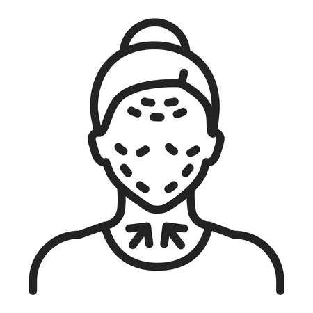 Lifting female face black line icon. Cosmetic surgery. Facial rejuvenation. Isolated vector element. Outline pictogram for web page, mobile app, promo.