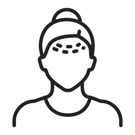 Forehead lift black line icon. Cosmetic face surgery. Facial rejuvenation. Isolated vector element. Outline pictogram for web page, mobile app, promo.