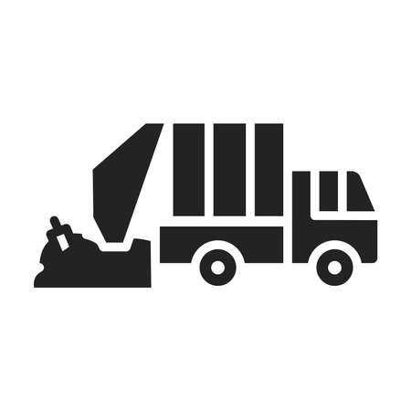 Urban green garbage truck glyph black icon. Residential and commercial waste. Pictogram for web page, mobile app, promo