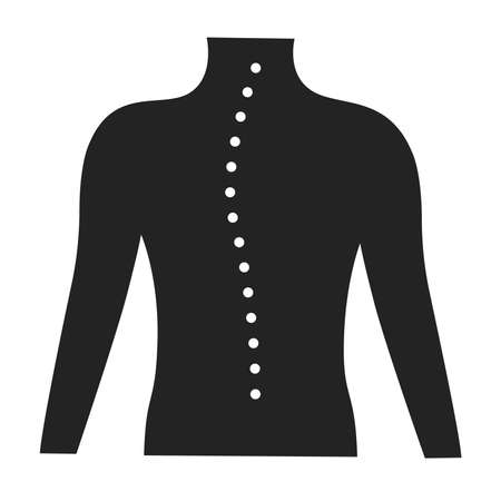 Scoliosis glyph black icon. Spinal deformity. Isolated vector element.