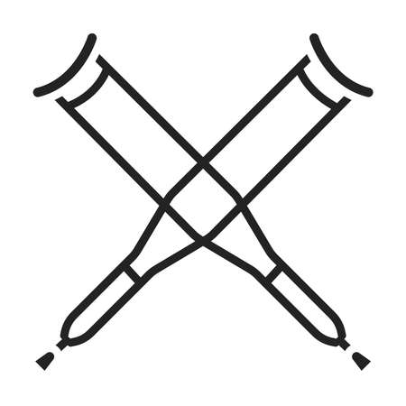 Axillary crutch glyph black icon. Medical tool for people with disabilities and help after injury.