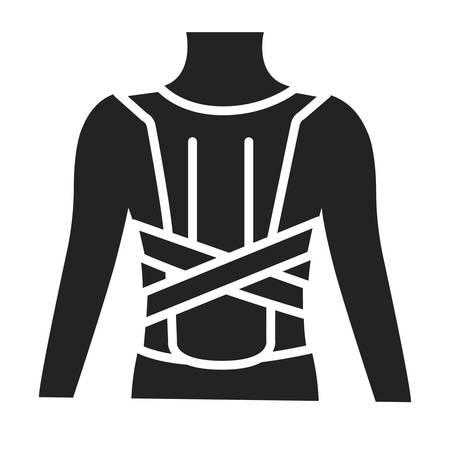 Orthopedic corset glyph black icon. Posture corrector. Isolated vector element.