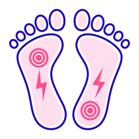 Acute pain foot color line icon. Sprain, injury. Isolated vector element. Outline pictogram for web page, mobile app, promo.