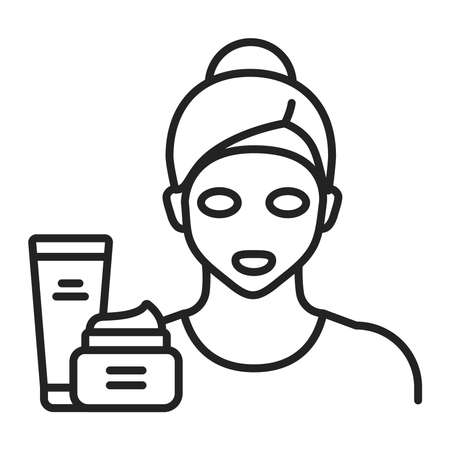 Face mask on a young girl black line icon. Skin care. Moisturizing and nourishing skin. Isolated vector element. Outline pictogram for web page, mobile app, promo. Çizim