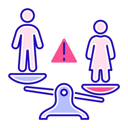 Gender discrimination and inequality color line icon. Violence in family. Men bullying women. Isolated vector element. Outline pictogram for web page, mobile app, promo