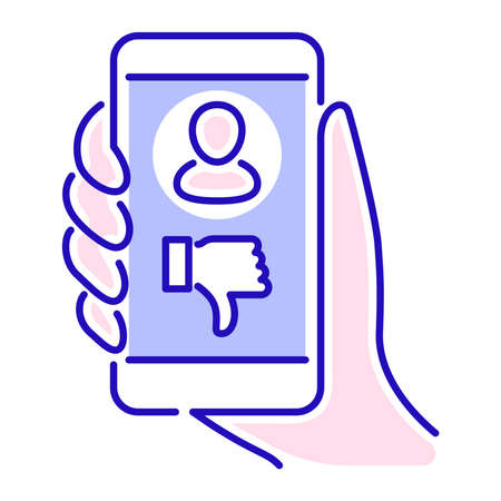 Cyberbullying victim hand holding smartphone. Abuse, internet, hate concept. Social media insult. Isolated vector element. Outline pictogram for web page, mobile app, promo. Ilustración de vector