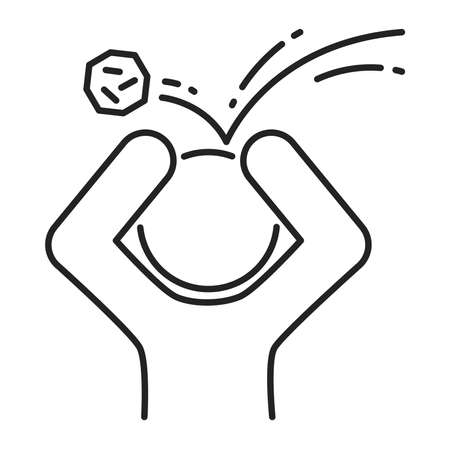 Physical humiliation black line icon. Harassment, beat and violence. Isolated vector element. Outline pictogram for web page, mobile app, promo