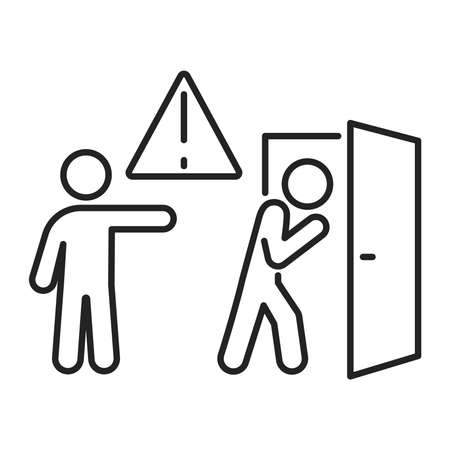 Discredit black line icon. Humiliation, insulting a person concept. Isolated vector element. Outline pictogram for web page, mobile app, promo Illustration