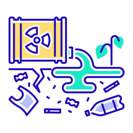 Land degradation color line icon. Ecological disaster. Isolated vector element. Outline pictogram for web page, mobile app, promo. Vector illustration.