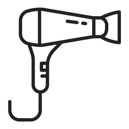 Hair dryer black line icon. Electrical device for drying a person's hair. Sign for web page, mobile app, banner. Vector illustration