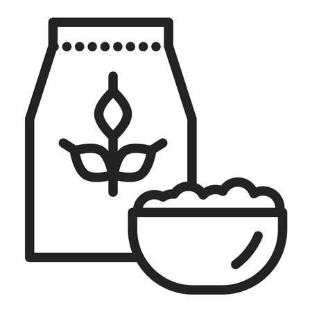 Oatmeal package and bowl of porridge black line icon. Healthy, organic food. Proper nutrition. Isolated vector element. Outline pictogram for web page, mobile app, promo. Vector illustration