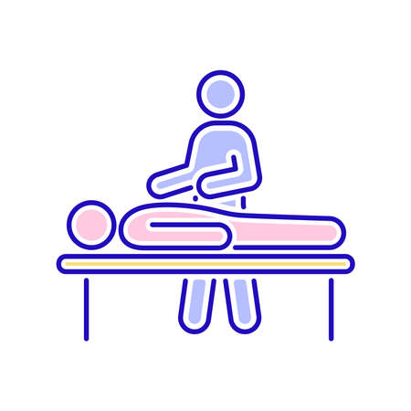 Massage procedure line color icon. Physiotherapy, acupuncture, rehabilitation. Isolated vector element. Outline pictogram for web page, mobile app, promo.